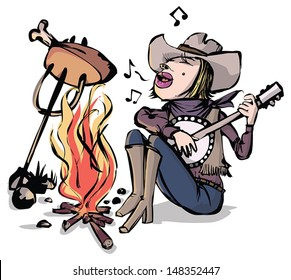 Cow girl play the banjo by a camp fire.