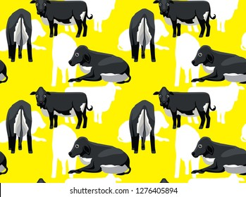 Cow Girolando Cute Cartoon Background Seamless Wallpaper