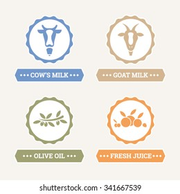 Cow and goat milk - Olive oil - Fresh juice - Vector icons set
