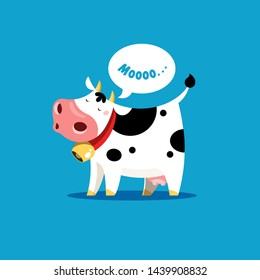The cow goes moo. Vector illustration of a mooing cow in simple children's style.