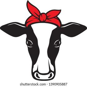 cow head with bandana vector icon