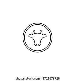Cow head in circle. line icon. Farm Animal label. Beef, milk, lactose symbol. Vector illustration isolated on white