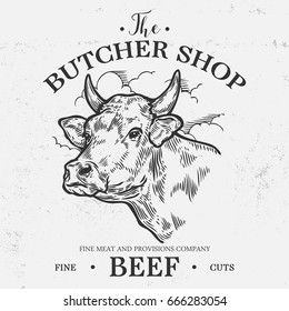 Cow head, Fresh beef organic meat. Hand drawn sketch in a graphic style. Vintage vector engraving illustration for poster, web. Isolated on white background