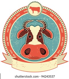 Cow head label on old paper texture.Vintage style
