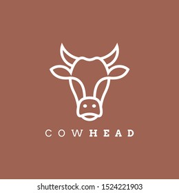 Cow head line outline monoline icon graphic silhouette emblem logo label. Vector illustration.