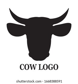 Cow head logo, icon vector, flat style, domestic animal isolated on the white background