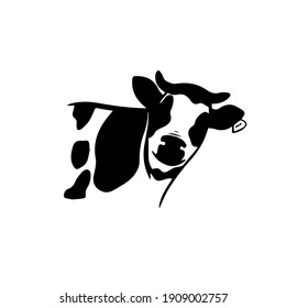 Cow head logo icon in vector hand drawn style on white background