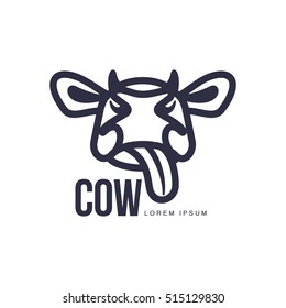cow head logo template, cartoon vector illustration on white background. Cute, showing tongue, funny front view cow head for dairy, beef, farm products logo design