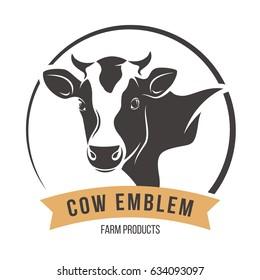 Cow head silhouette emblem logo label. Vector illustration.