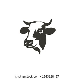 Cow head silhouette vector on a white background
