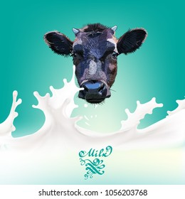 Cow head vector the milk flowing, in motion, splashing milk isolated