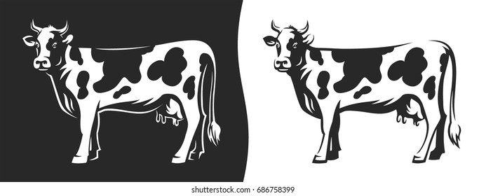 Cow with horns - Illustration on a dark and light background