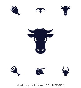 Cow icon. collection of 7 cow filled icons such as beef, bull. editable cow icons for web and mobile.