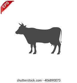 cow icon, vector silhouette cow, isolated cow sign