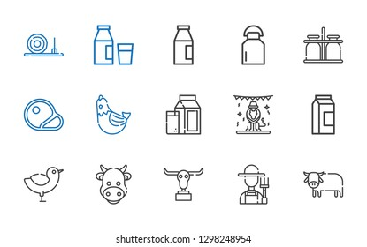 cow icons set. Collection of cow with ox, farmer, buffalo, chicken, milk, animals, hen, steaks, milk jar, straw bale. Editable and scalable cow icons.