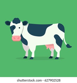 Cow isolated on green background. Vector illustration in cartoon flat design style
