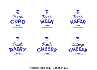 Cow isolated on white background. Milk, dairy, cheese, curd, yogurt, kefir logo, logotype. Butchery sign. Beef, farm symbol. Emblem, symbol, Stamp. Vector stencil illustration. Sketch.