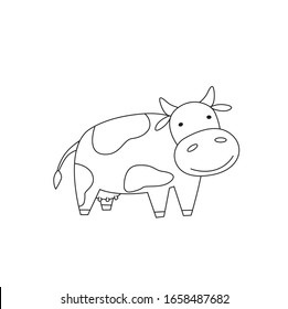 Cow isolated on white background. Character for coloring book. Vector outline illustration in flat style.