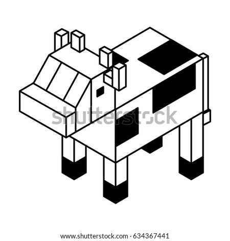 Cow Isometric Isolated Icon Stock Vector Royalty Free 634367441