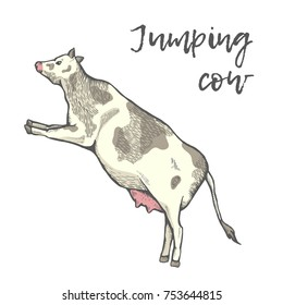 The cow jumped. Cut out illustration. Simple greeting card