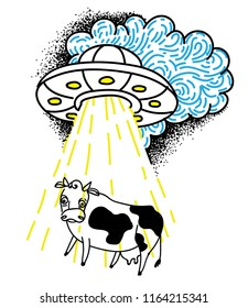 The cow is kidnapped by a UFO. Funny drawing, childish, funny. Drawing by hand.