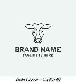 cow logo design, cow head, cow face, line art, monoline