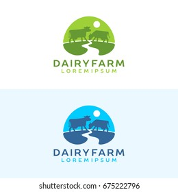 Cow logo. Farm milk emblem. Dairy product logo.