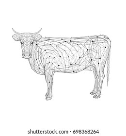 Cow in low poly style. Polygonal geometric triangular wire graphic construction structure.