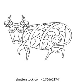 cow mandala coloring, lines and patterns