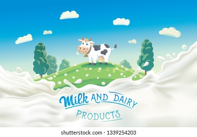 Cow in the meadow, in a cartoon style and a splash of milk in the foreground