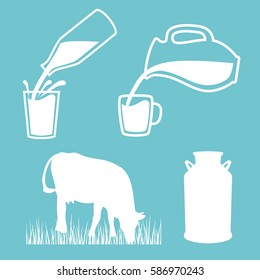 Cow, Milk can, Milk pouring from a bottle in cup, splashes. Jar, silhouettes on Blue background. Concept idea for diary, Cattle farm. For logo, tag, banner, advertising, prints, design element, label