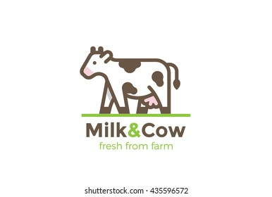 Cow Milk Farm Logo design vector template Linear style.