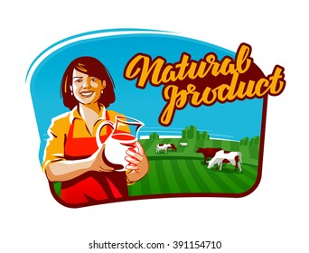 cow milk vector logo. milkmaid, farmer or farm icon