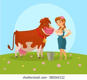 Cow and milkmaid. Vector flat illustration
