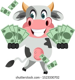 Cow with money, illustration, vector on white background.