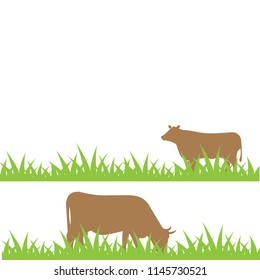 Cow on the field illustration vector eps10