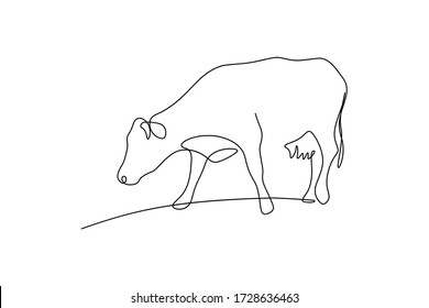 Cow on pasture in continuous line art drawing style. Grazing cow minimalist black linear sketch isolated on white background. Vector illustration