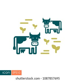 Cow on a pasture icon. Agriculture sign. Graph symbol for your web site design, logo, app, UI. Vector illustration, EPS10.