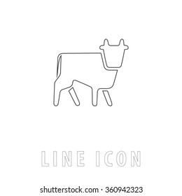 Cow Outline simple vector icon on white background. Line pictogram with text
