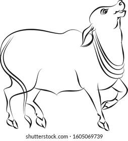 cow painted in Kalamkari or Madhubani style for textile printing. India