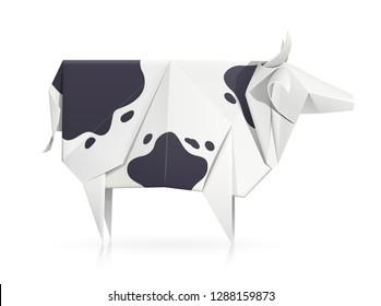 Cow. Paper origami toy. Handmade bull. Handicraft art. Horny animal. Isolated white background. EPS10 vector illustration.