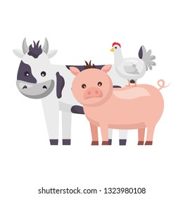 cow pig and chicken animals farm