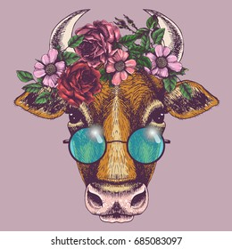 Cow portrait with floral wreath and round sunglasses. Hand drawn vector illustration. Fashion animal for your design.
