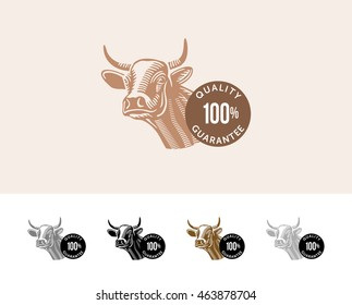 Cow quality guarantee logo. Graphic vector image of cow's head and the inscription quality guarantee.
