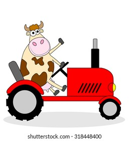 cow riding on a tractor ,vector illustration