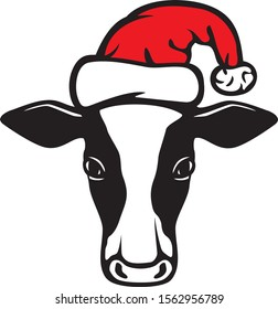 Cow and Santa Claus hat (Christmas design)