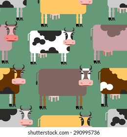 Cow seamless pattern. Background of  animals. Herd of cows Farm animals. Vector illustration