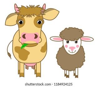 cow and sheep cartoon