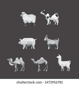 COW SHEEP PIG GOAT CAMEL LLAMA FARM ANIMAL LOW POLY LOGO ICON SYMBOL SET. TRIANGLE GEOMETRIC POLYGON