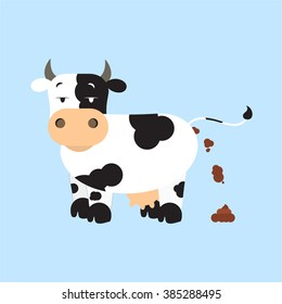 Cow shitting. Dutch dairy cow pooping. Isolated. Blue background.